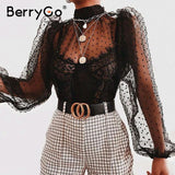 Women's mesh black dot blouse