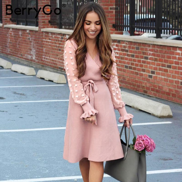 Ruffle long sleeve knitted dress