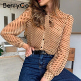 Transparent sexy polka dot blouse