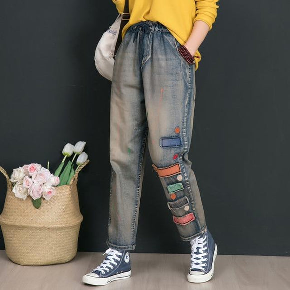 Korea Style Elastic Waist Cartoon Vintage Casual Jean