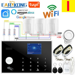 Home Burglar Alarm Wireless & Wired Detector  (Touch Keyboard 11 Languages Compatible Alexa)