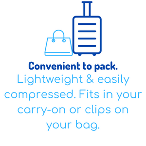 Convenient to pack. Lightweight & easily compressed. Fits in your carry-on or clips on your bag.