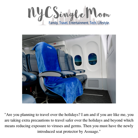 NYC Single Mom says Assuage airplane seat covers are a must have travel item