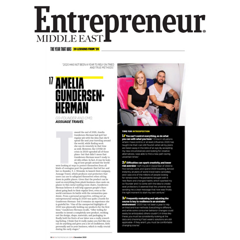 Assuage's co-founder Amelia Gundersen-Herman interviewed in Entrepreneur Middle East