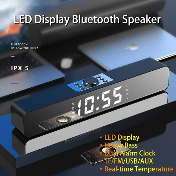 2020 LED TV Sound Bar Alarm Clock Bluetooth