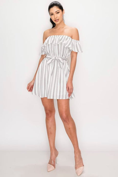 Striped Print Off Shoulder Dress