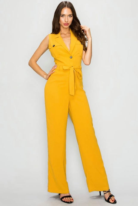Belted Notch Collar Jumpsuit