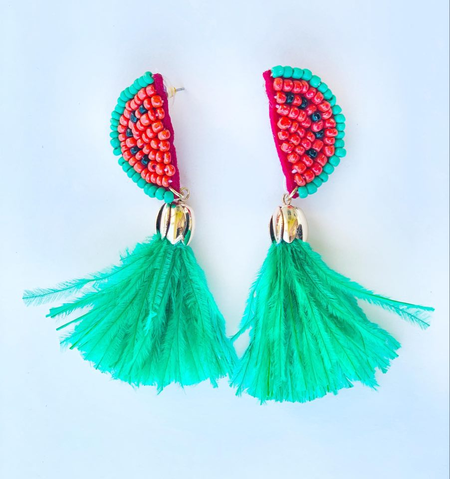 Watermelon and Feather Earrings