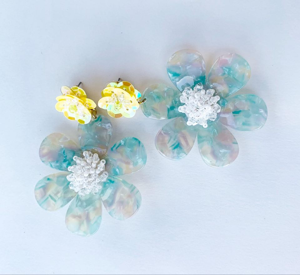 Acrylic Resin Flower Earrings