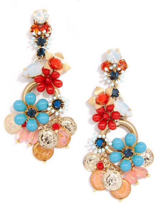 Colorful Flower And Crystal Earring