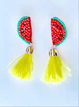 Load image into Gallery viewer, Watermelon and Feather Earrings