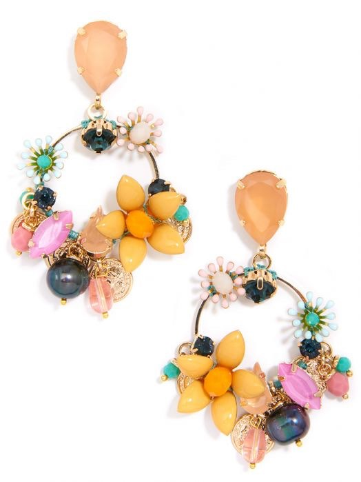 Colorful Crystals And Medallions Earring