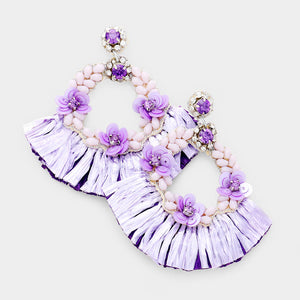 Floral Fan Raffia Earrings