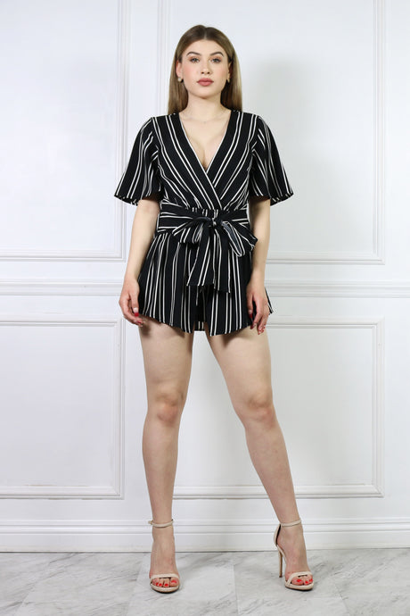 Black Stripe Romper