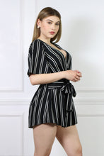 Load image into Gallery viewer, Black Stripe Romper