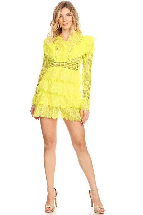 Yellow Sheer Crochet Dress