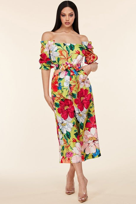 Tropical Off-Shoulder Jumpsuit
