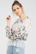 Load image into Gallery viewer, Woven Floral Print Top