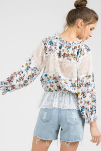 Woven Floral Print Top