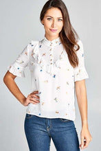 Load image into Gallery viewer, Feather Printed Blouse