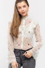 Load image into Gallery viewer, Sheer Floral Embroidered Victorian Shirt