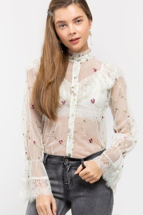 Sheer Floral Embroidered Victorian Shirt