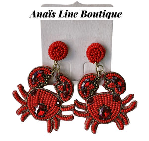 Red Crab Earrings
