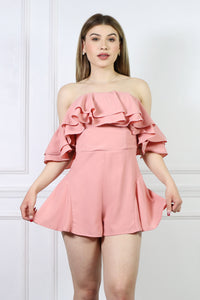 Ruffle Off Shoulder Romper