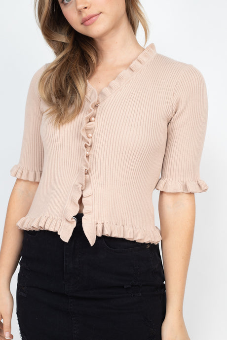Nude Rib Frill Knitted Top