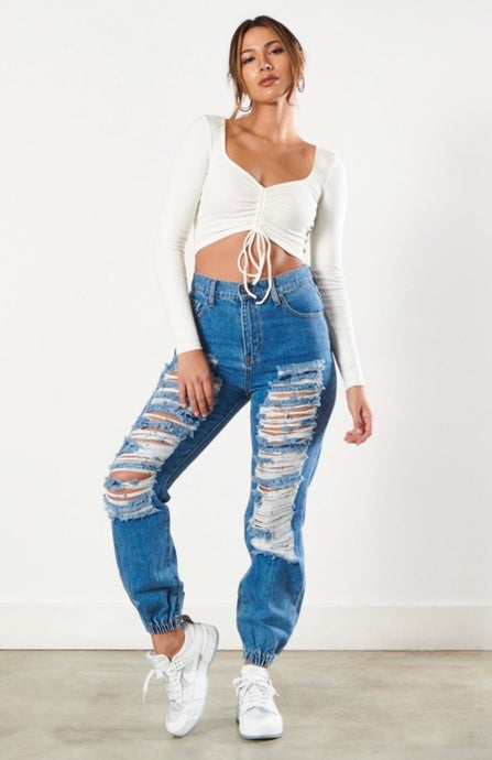 High Waist Jogger Denim