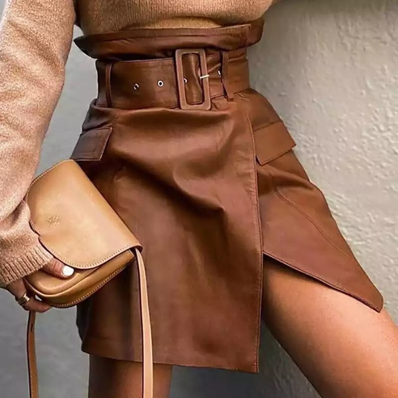 Renata Leather PU Skirt