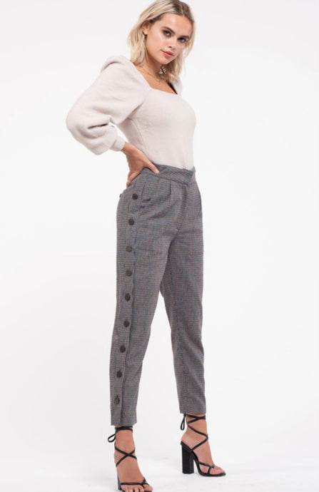 Houndstooth Side Bottom Cropped Pants