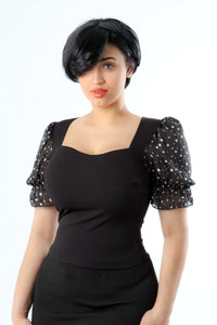 Romi Black Puff Top