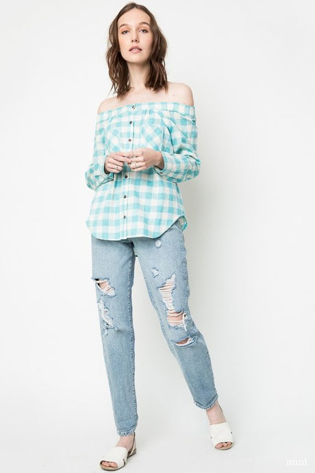 Plaid Off The Shoulder Tunic