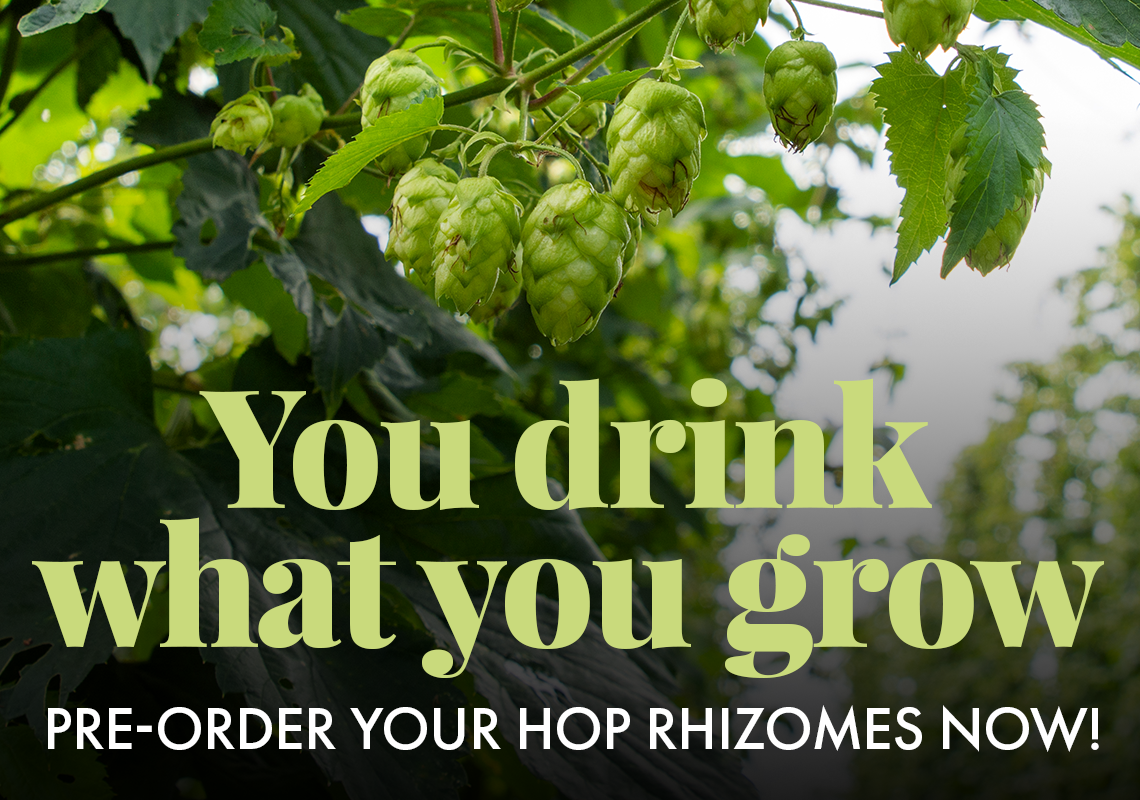You drink what you grow. Hop Rhizomes are available for pre-order.