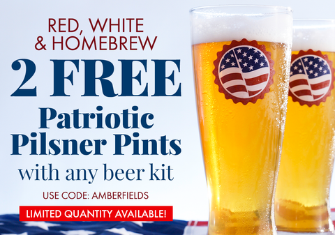 2 Free Patriotic Pilsner Glasses with a 5 Gallon Beer Recipe Kit