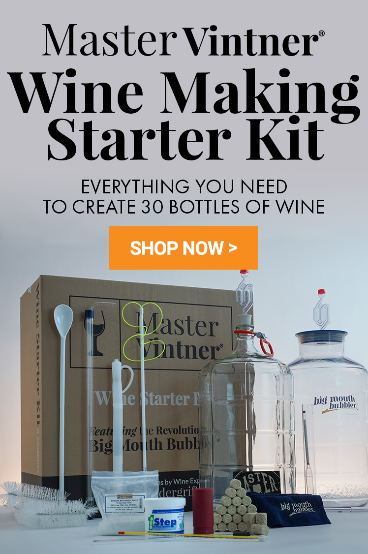 Master Vintner Wine Making Starter Kit. Everything you need to create 30 bottles of wine!