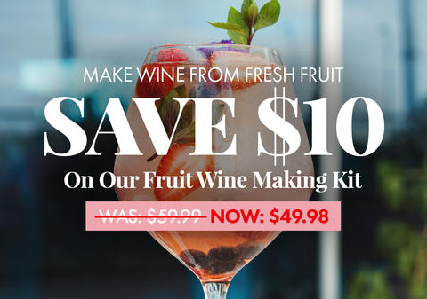 Save $10 on our Fruit Wine Making Kit. Makes fifteen 1-gallon batches