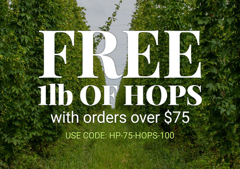 Free 1 lb of hops with orders over $75