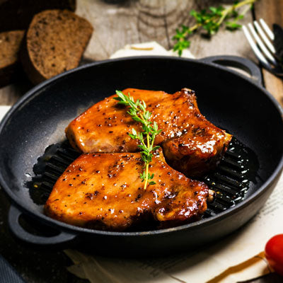 Pork Chops and Peach Glaze with Wine