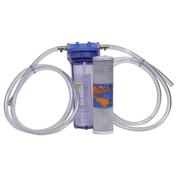 Water filter housing, vinyl tubing, garden hose attachment, and carbon block filter