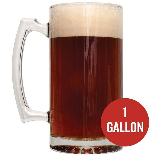 "A mug of Caribou Slobber Brown Ale with ""1 Gallon"" written in a red circle"