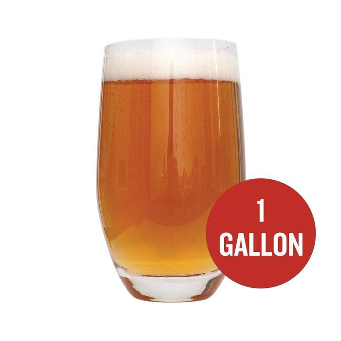 "Dead Ringer IPA in a glass with a red circle with the text '1 Gallon"" inside of it"