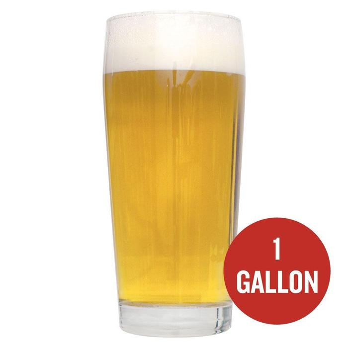 "German Blonde homebrew in a glass with a red circle containing the text ""1-Gallon"""