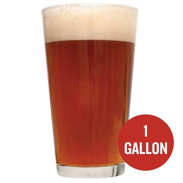 "Irish Red Ale in a drinking glass with ""1-gallon"" written in a red circle"