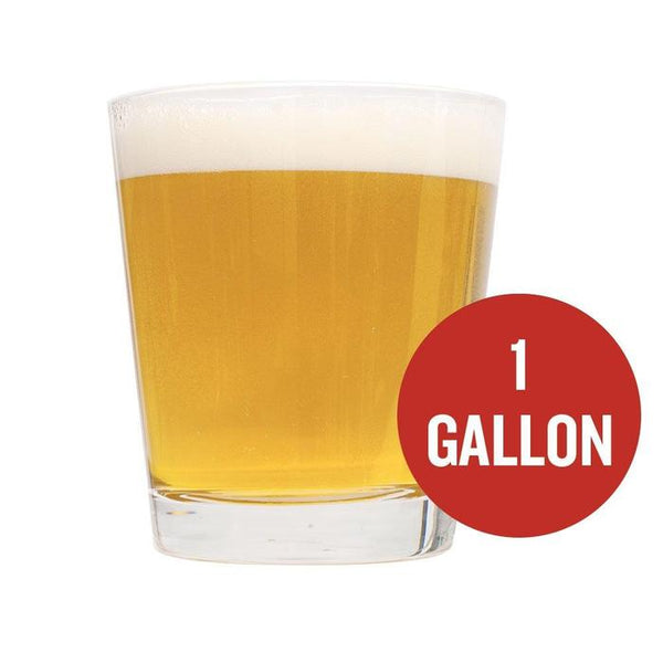 "A shout glass filled with Cream Ale homebrew with a red circle that reads ""1 Gallon"""
