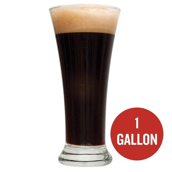"Black IPA homebrew in a glass with ""1 Gallon"" written within a red circle"