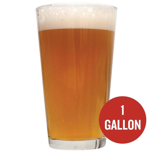"Chinook IPA homebrew in a glass with ""1 Gallon"" written in a red circle"