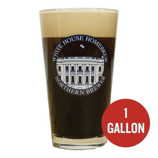 "White House Honey Porter in a pint glass beside a red circle containing the text ""1-gallon"""