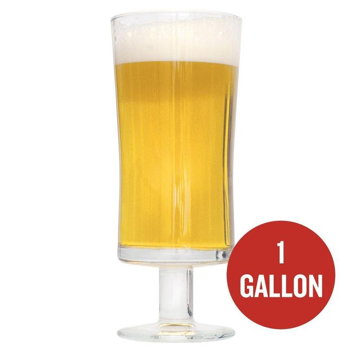 "Saison au Miel in a drinking glass with ""1-gallon"" written in a red circle"